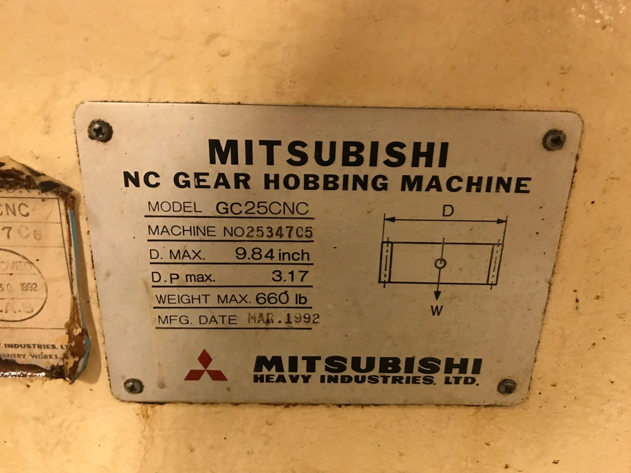 Lot 7 - MITSUBISHI GC25CNC CNC GEAR HOBBER, SN 25347C5, LOCATION IL