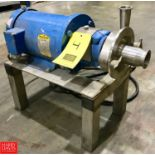 """Fristam Centrifugal Pump with Baldor 5 HP 3,450 RPM Motor, Mounted on S/S Base, 1.5"""" Inlet x 2"""""""