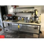 """S/S Frame Table, Dimensions = 8' Width x 3' Depth x 34"""" Height Rigging fee: 20"""