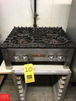"Lot 10 - Vulcan Tabletop 4-Burner Cooktop, Dimensions = 2' Width x 20"" Depth x 11"" Height Rigging fee: 100"