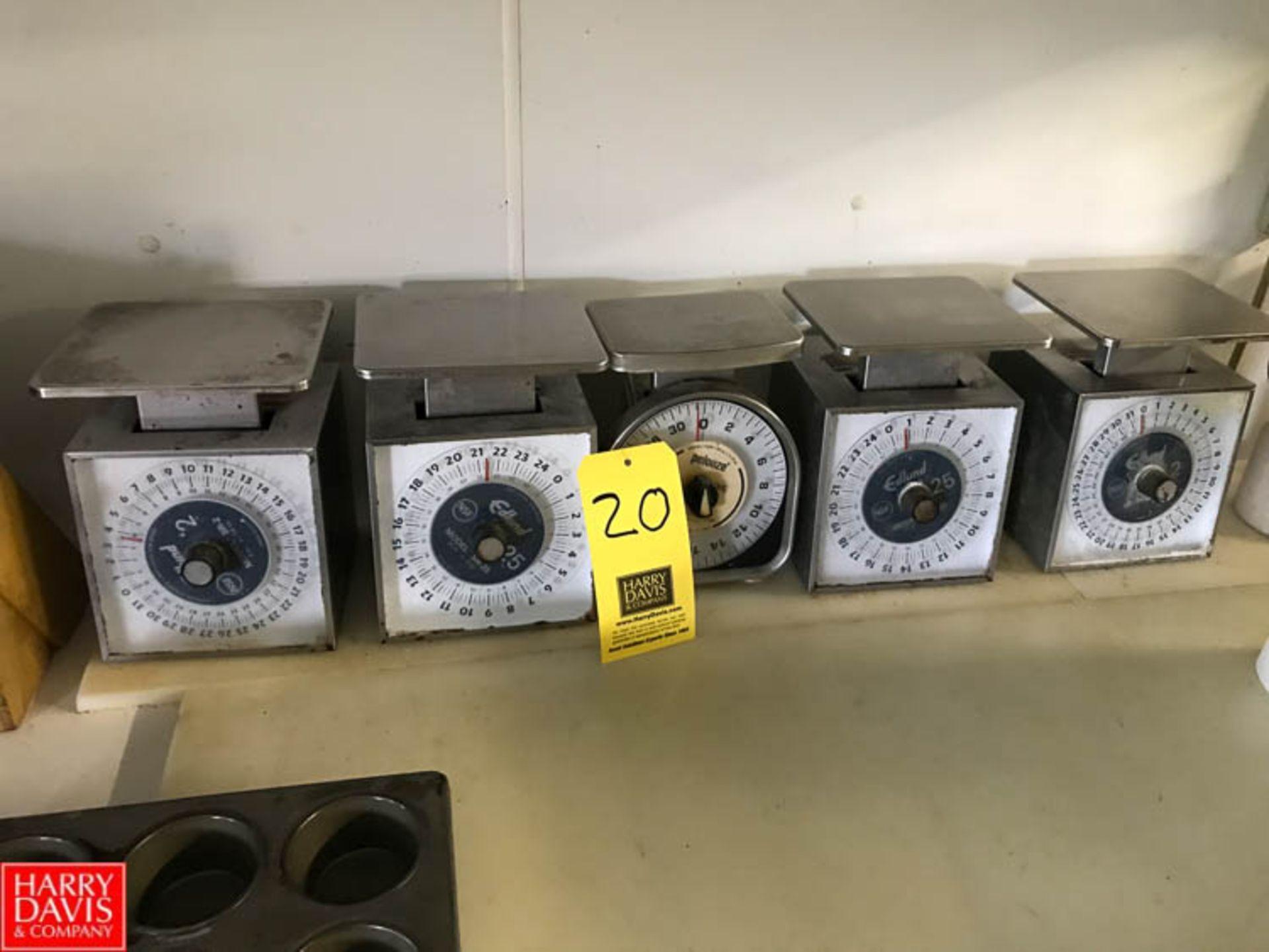 Lot 20 - (2) Edlund 2 LB Capacity, (2) Edlund 25 LB Capacity and (1) Pelouze 2 LB Capacity Scales Rigging