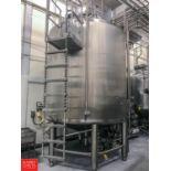 2012 Feldmeier 3,000 Gallon S/S Dome Top, Cone Bottom Processor with Vertical Side and Bottom Scrape