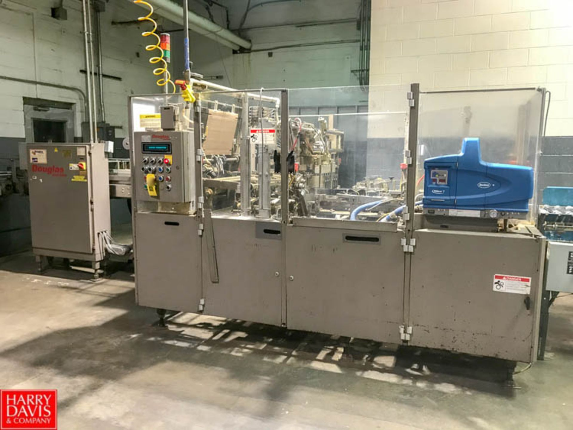 Lot 22 - Douglas Tray Former/Packer, S/N M-4329, with Nordson Pro Blue 7 Gluer and Allen Bradley SLC5/03