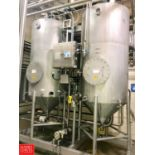 GEA 2-Tank S/S Skid Mounted CIP System with Cone Bottom Tanks, 4' W x 11' H, and Pump (Located in