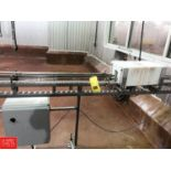 30' A-One S/S Frame Can Conveyor with Plastic Table Top Chain, 90 ° Turn, S/S Clad Drive Motor and