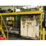 Currie Palletizer, S/N HSP-6-1083 with Allen Bradley Panel View 550 Controller and Platform (Located