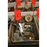 Box of Assorted Hinges, Square, Level, and Etc.