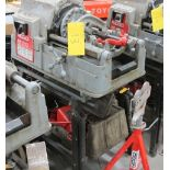 RIDGID, 535 SERIES, POWER PIPE THREADER W/FOOT CONTROL, 115 VOLT, S/N EBE 85173-0705 WITH PIPE STAND