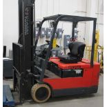 """TOYOTA ELECTRIC FORKTRUCK 5FBE20, 3 SOLID WHEELS, 36 VOLT, SIDE SHIFT, 3 STAGE, 217"""" LIFT, 5500 LB"""