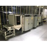 INE 48' X 30' LONG FLOW THROUGH CURING OVEN, 3/60/600 VOLTS, 29.5 HP, 10KW LANGES + MOTOR, ENCLOSURE