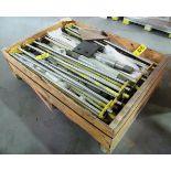WOODEN BOX C/W ASSORTED STEEL HOLDERS