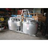 DCI Dual 150 Gal. S/S Slurry Tank System, S/N MS53-2 & MS 53-1, Mounted on S/S Skid, with 3 hp Top