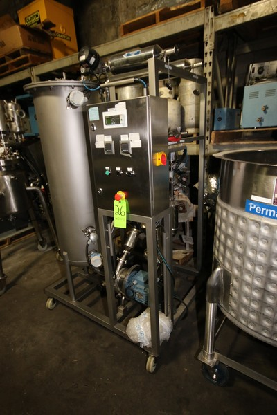 """Lot 26 - Single Tank CIP System, with Aprox. 40 Gal. S/S Single Wall Tank, Tank Dims.: 50"""" H x 16"""" Dia., with"""