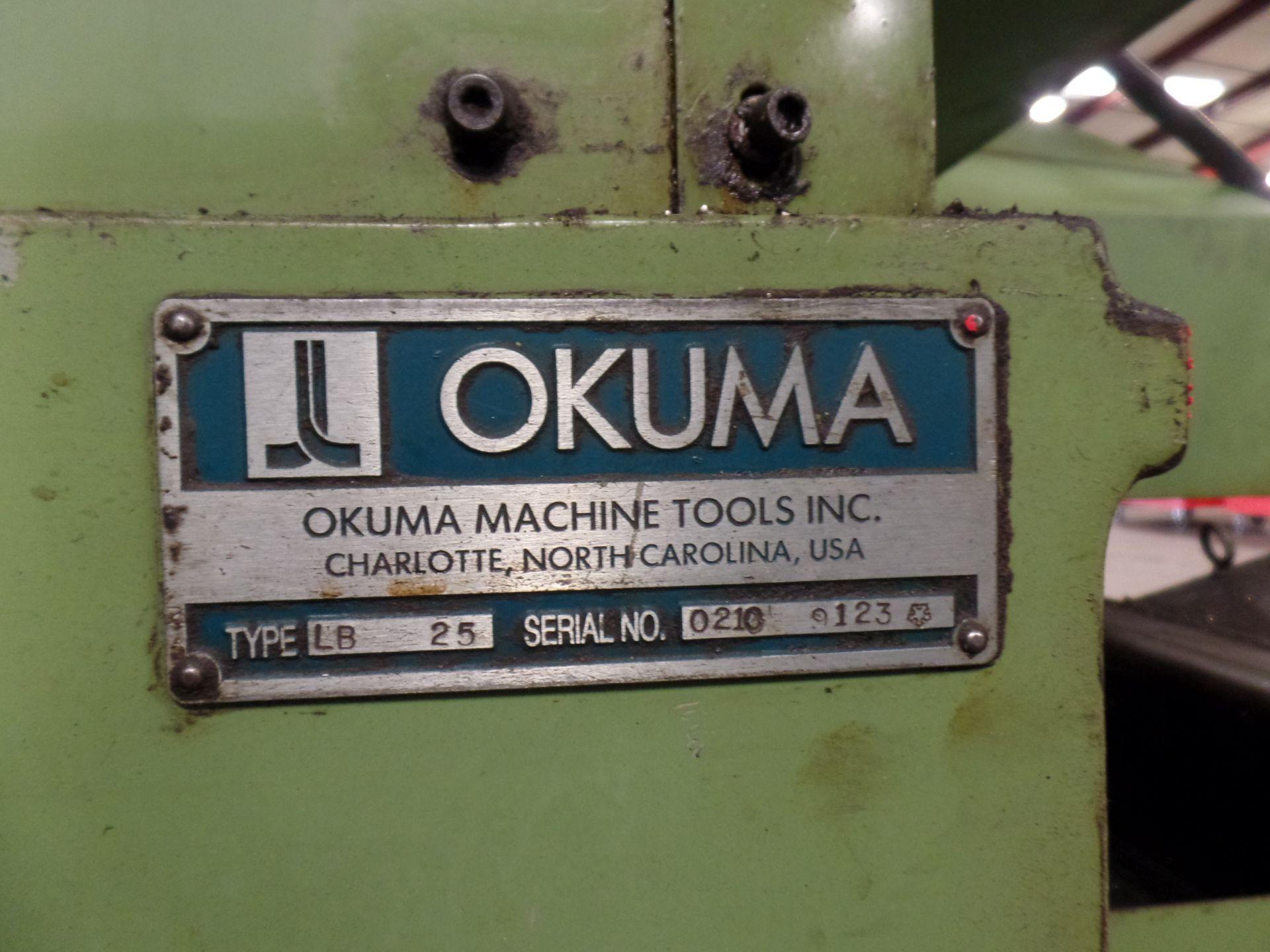 "1996 Okuma LB 25 2 Axis CNC Lathe, 5020 control , chip conveyor, 10"" chuck SN: 02109123 - Image 7 of 7"