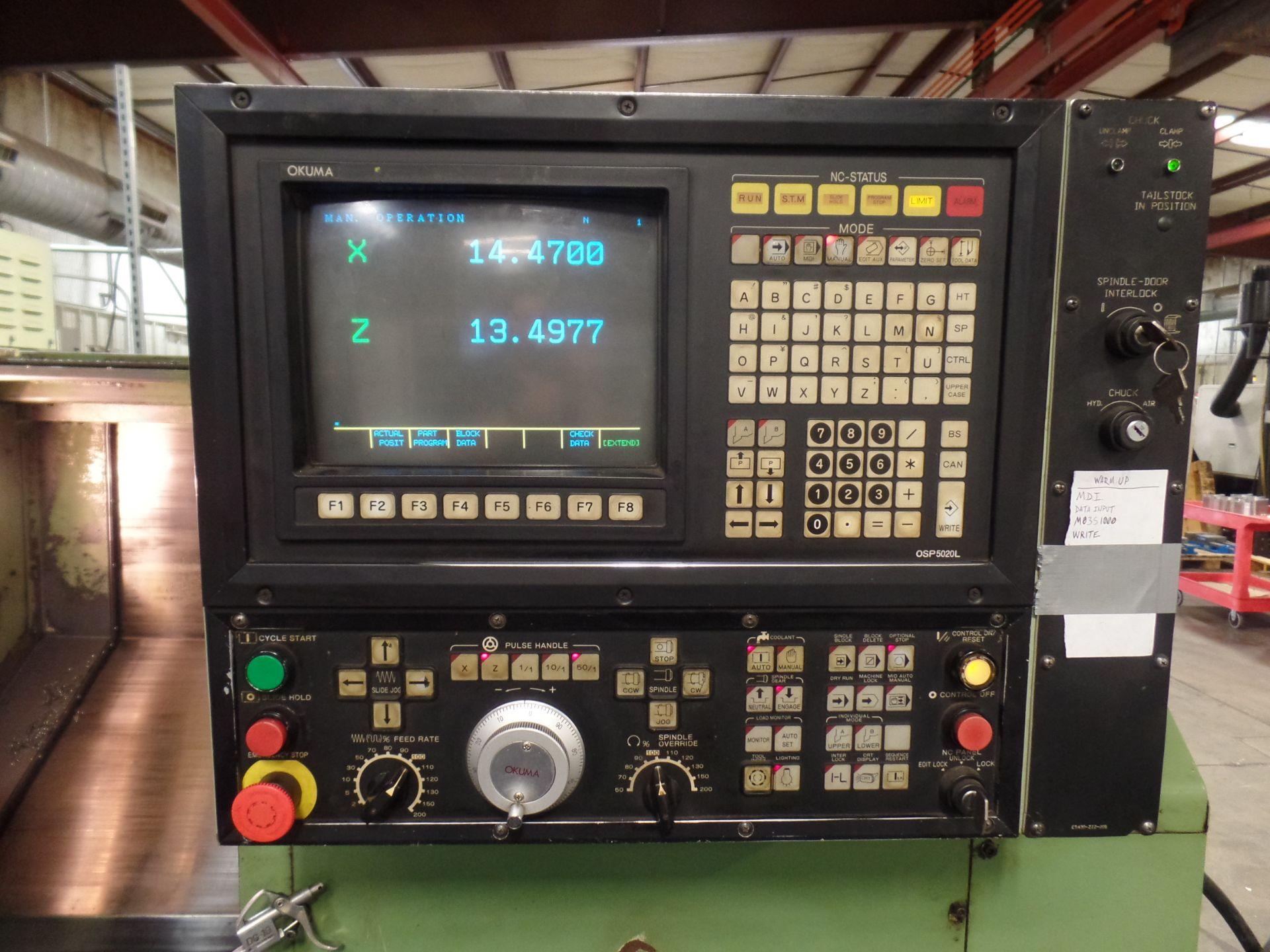"1996 Okuma LB 25 2 Axis CNC Lathe, 5020 control , chip conveyor, 10"" chuck SN: 02109123 - Image 3 of 7"