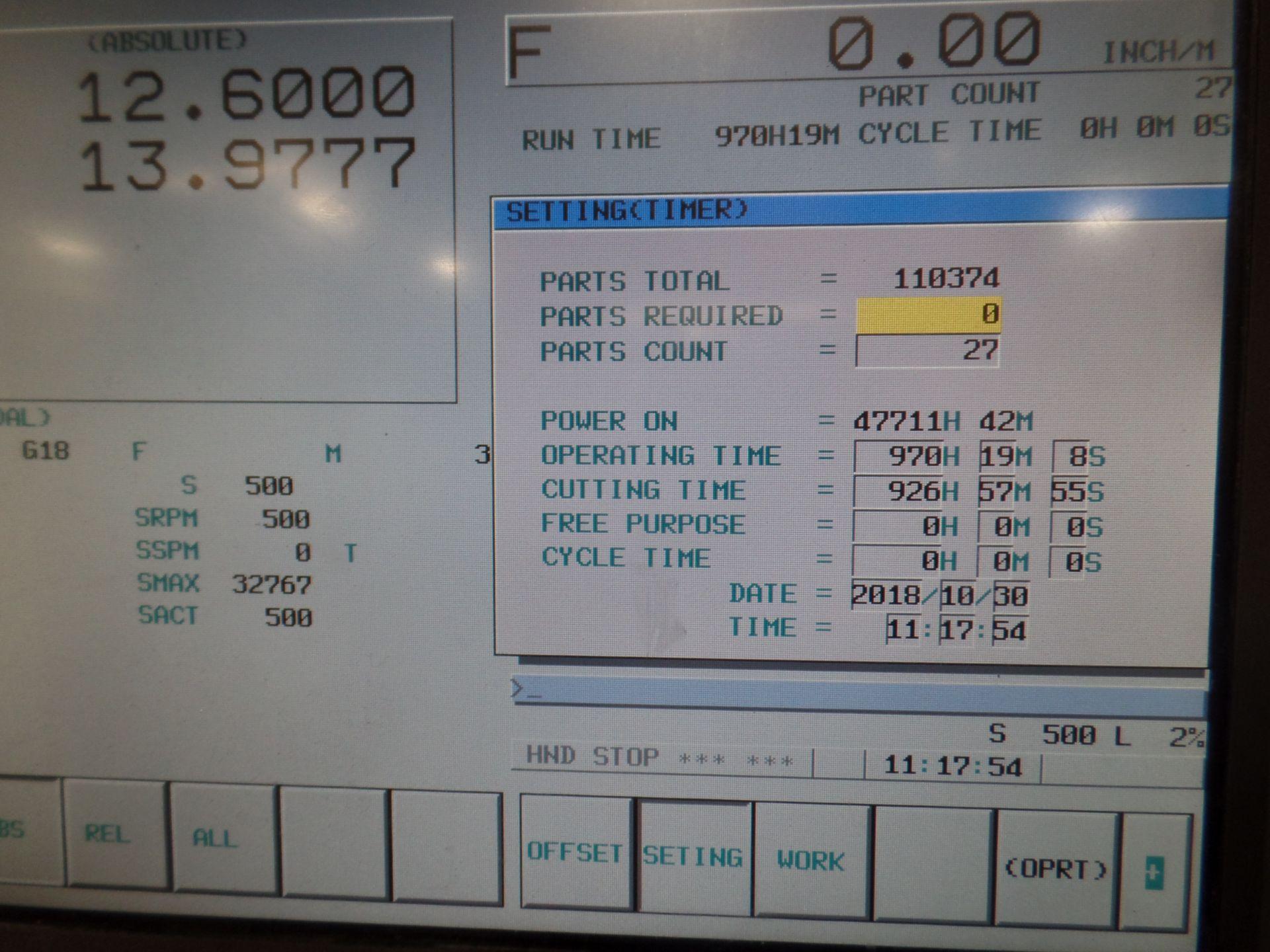 "1996 Okuma LB 25 2 Axis CNC Lathe, 5020 control , chip conveyor, 10"" chuck SN: 02109123 - Image 4 of 7"