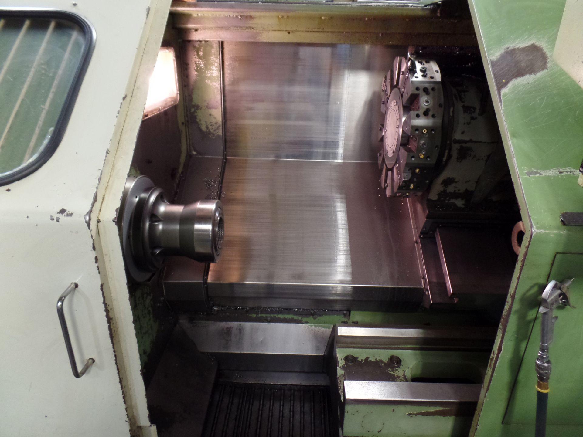 "1996 Okuma LB 25 2 Axis CNC Lathe, 5020 control , chip conveyor, 10"" chuck SN: 02109123 - Image 2 of 7"
