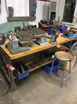 Lot 48 - METAL WORK BENCH WITH WOOD TOP, 6' LONG x 3' WIDE x 34'' TALL [CONTENTS ON BENCH NOT INCLUDED] [