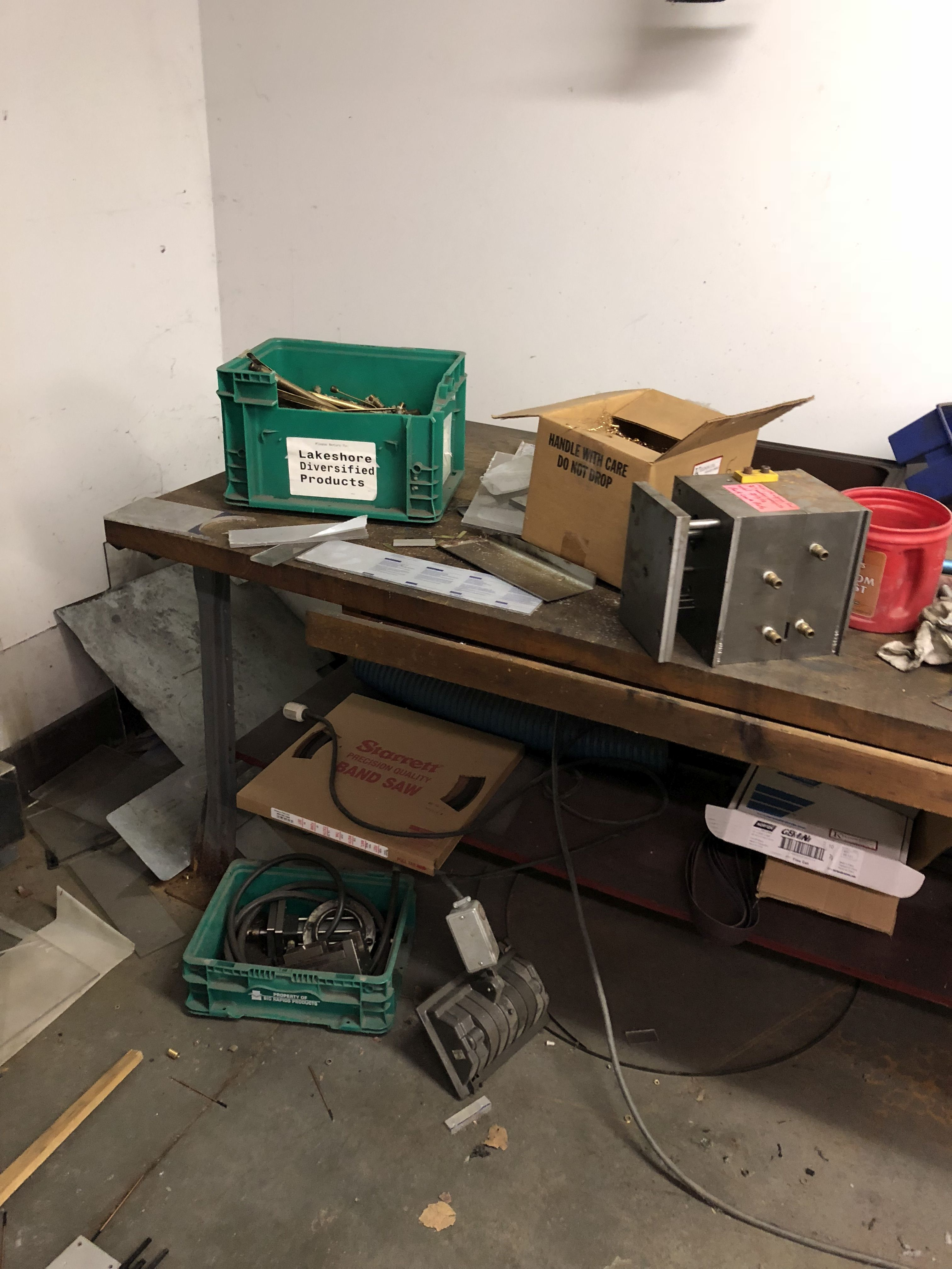 Lot 50 - METAL WORK BENCH WITH WOOD TOP, 6' LONG x 36'' WIDE x 34'' TALL [CONTENTS ON BENCH NOT INCLUDED] [
