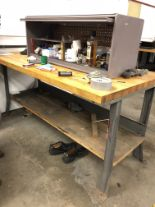 Lot 38 - METAL WORK BENCH WITH WOOD TOP, 6' LONG x 3' WIDE x 34'' TALL [CONTENTS ON BENCH NOT INCLUDED] [