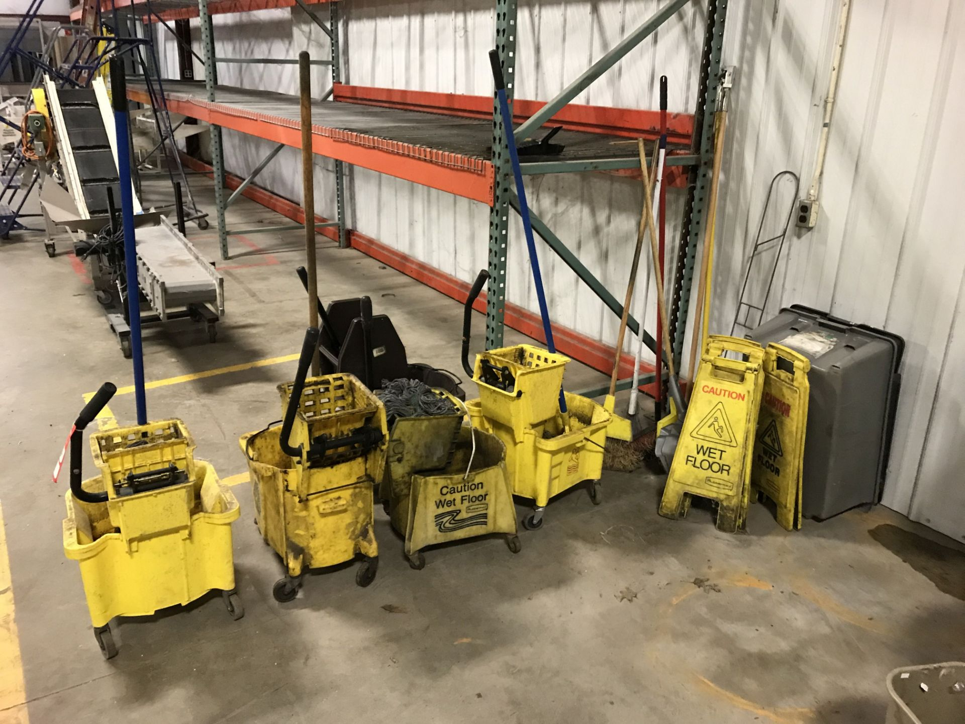 Lot 24 - ASSORTED MOP BUCKETS (5), CAUTION SIGNS, BROOMS [LOCATION: BUILDING 1]