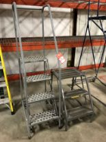 Lot 19 - COTTERMAN 4' ROLLING LADDER AND 3' STEP STOOL [LOCATION: BUILDING 1]