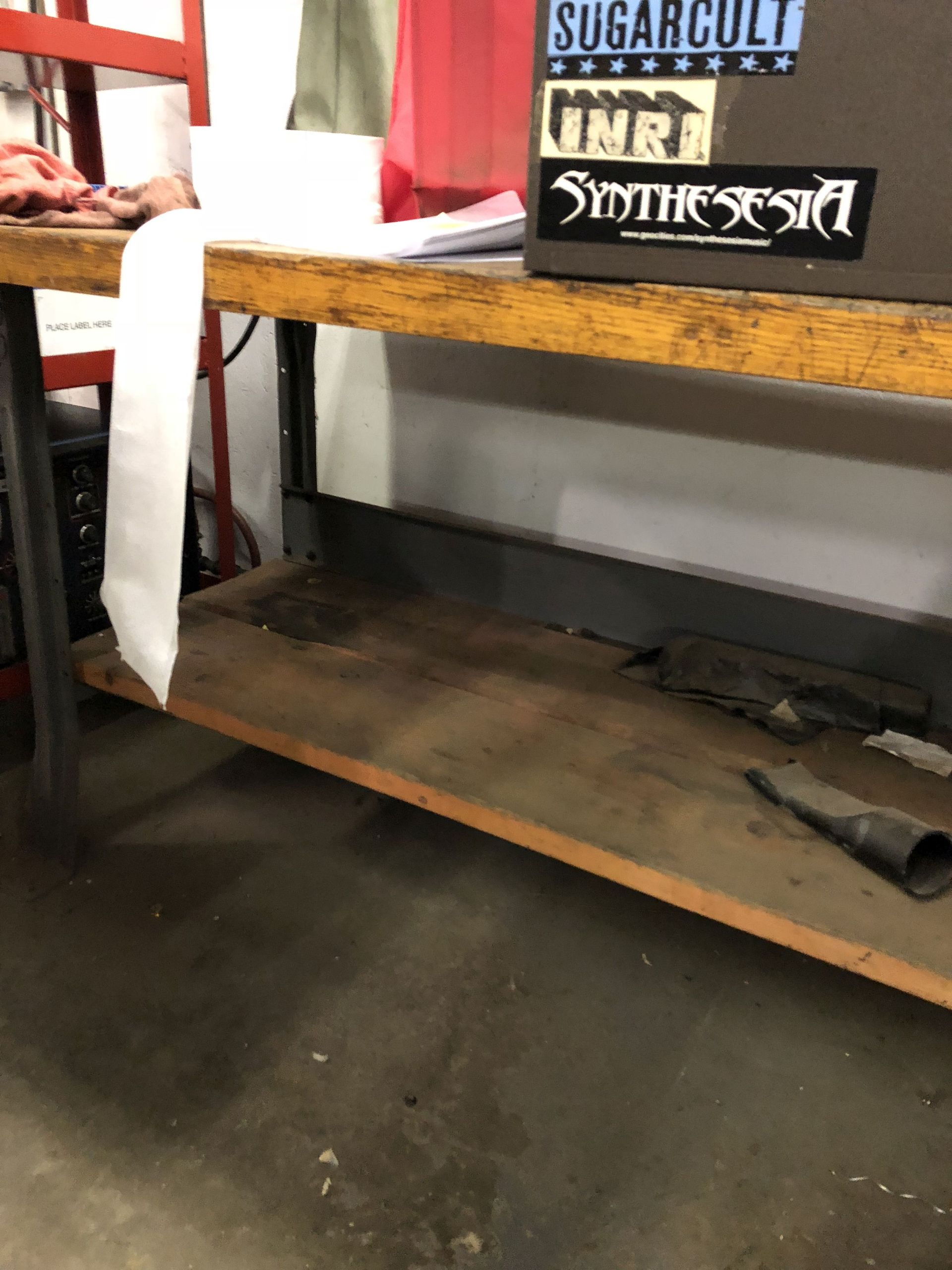 Lot 37 - METAL WORK BENCH WITH WOOD TOP, 6' LONG x 3' WIDE x 34'' TALL [CONTENTS ON BENCH NOT INCLUDED] [