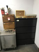 Lot 57 - ASSORTED PIN GAUGES, INCLUDES 4-DRAWER CABINETS (2), AND LATERAL FILE CABINET AND METAL STAND [