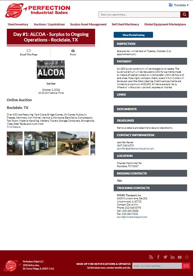 Day #1: ALCOA - Surplus to Ongoing Operations - Rockdale, TX