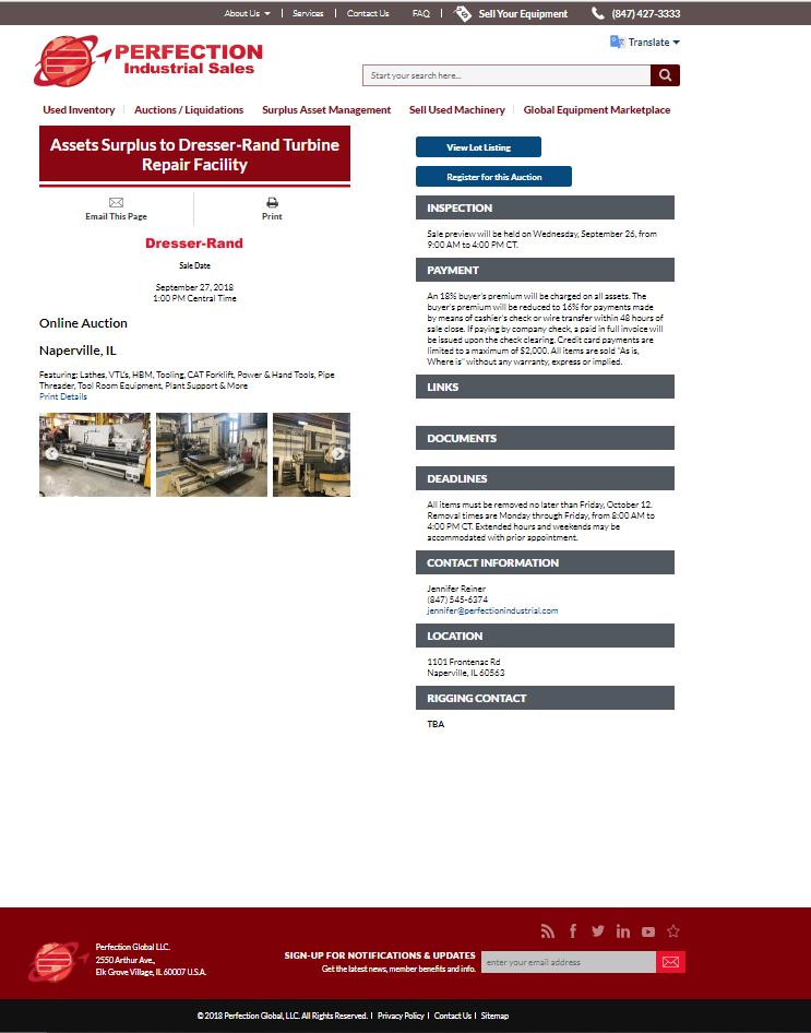 Assets Surplus to Dresser-Rand Turbine Repair Facility