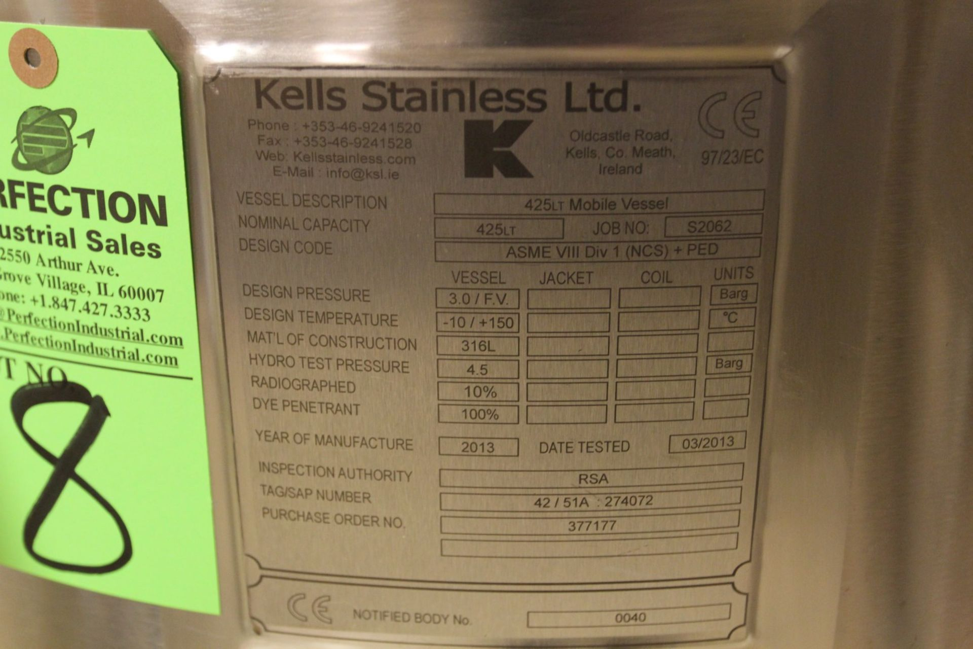 Lot 8 - 2013 Kells Stainless 425LT Mobile Vessel, Job No S2062, 425 Liter Capacity, 316L Stainless Steel