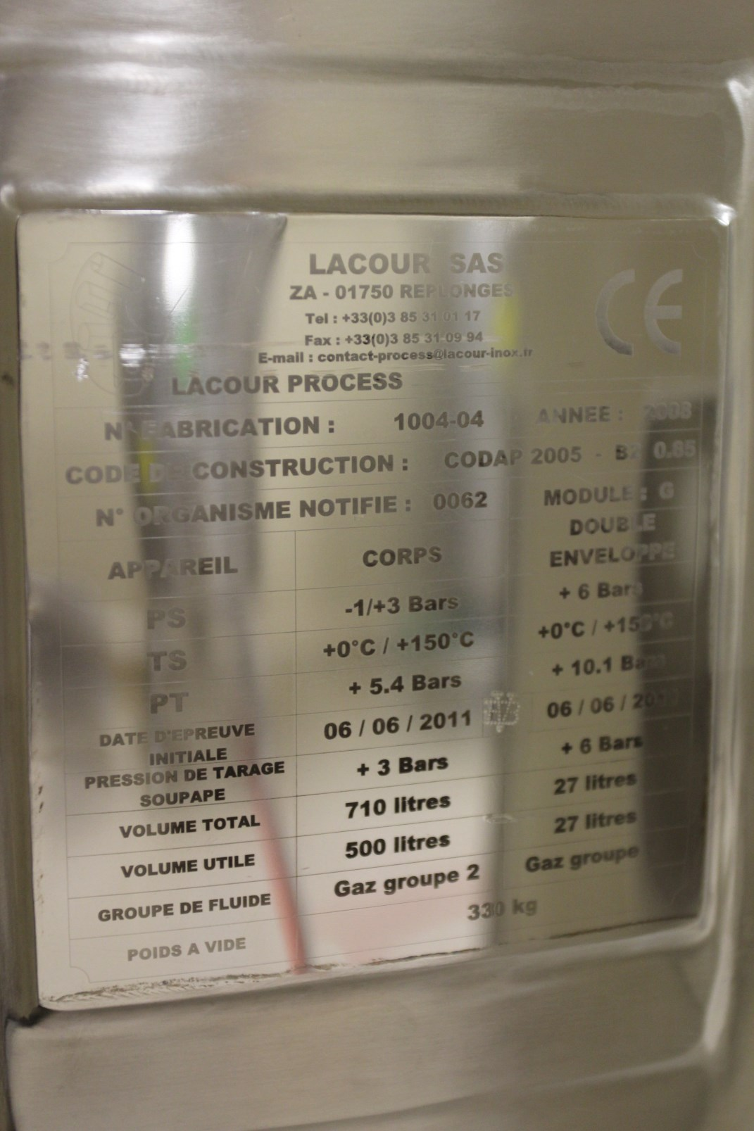 Lot 48 - 2008 Lecour Mobile Vessel, Fabrication No. 1004-04, Stainless Steel Construction, 710 Liter