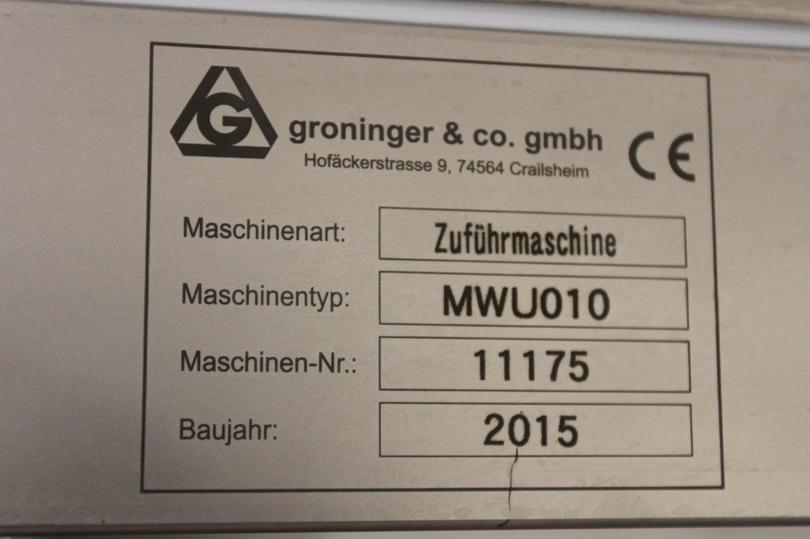 Lot 88 - Complete Groninger Filling Line w/ 2015 Groninger MWU010, w/ Debagger, Delid/Liner, Filling and