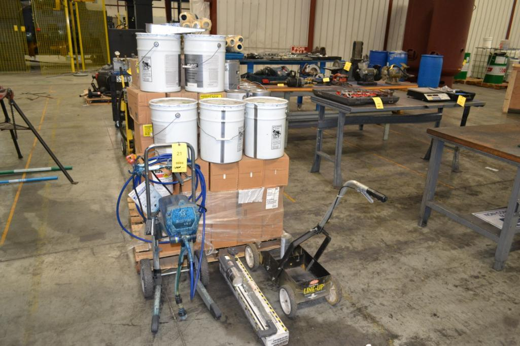 Lot 21 - LOT: Graco LTS17 Paint Sprayer/Striper & Pallet of Rustoleum Industrial Paint