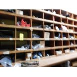 LOT: Wood Parts Bins with Contents of Knives, Shafts, Scraper Discs, Feed Tubes, etc.