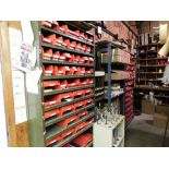LOT: (3) Sections Steel Shelving with Contents of Assorted Hardware, Parts, Threaded Rod, Belts, Par