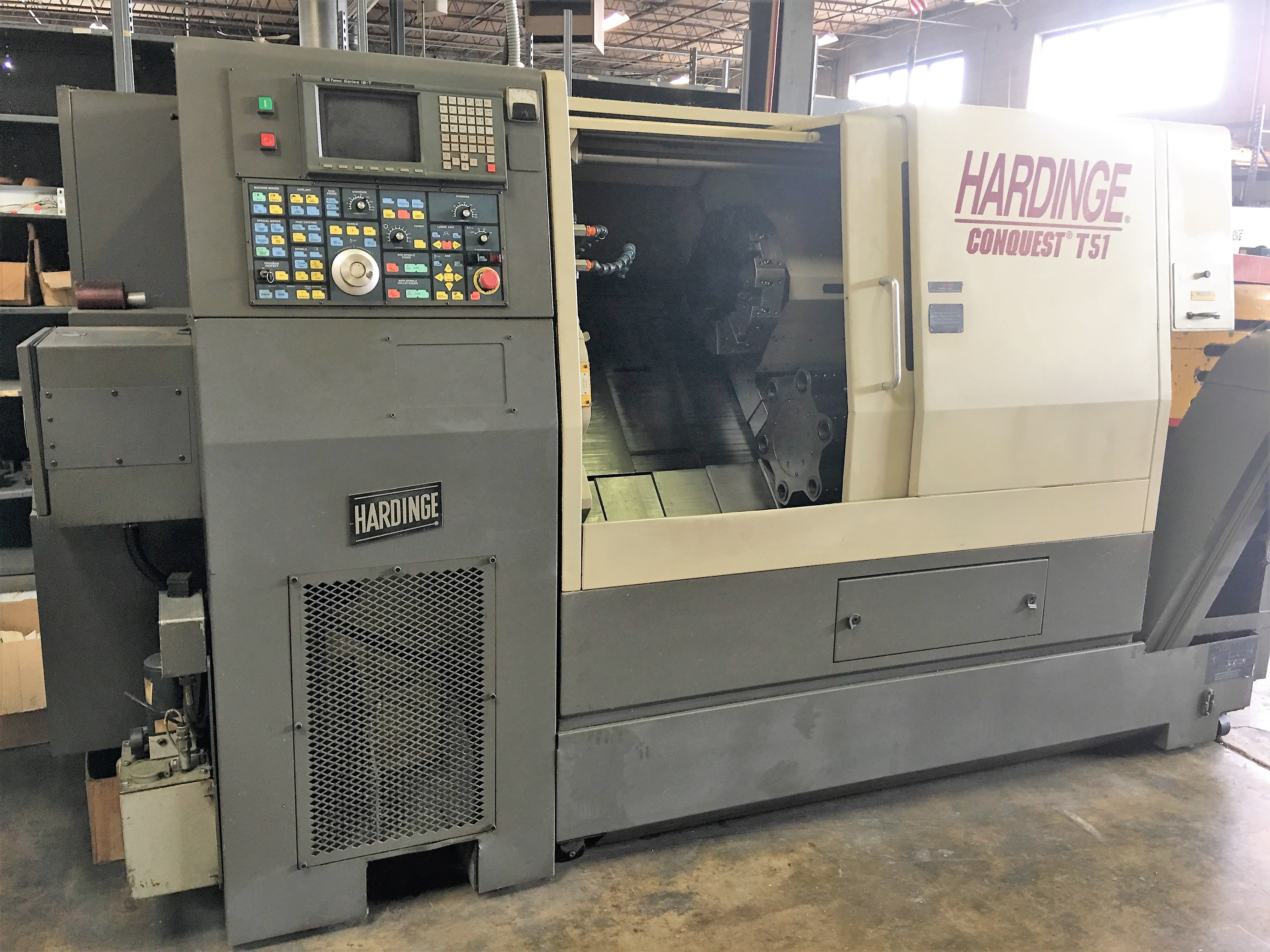 Lot 10 - HARDINGE CONQUEST T51 CNC LATHE WITH LIVE TOOLING