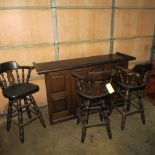 WOODEN BAR WITH FOLDING LEAF, FOOT RAIL, 3 STOOLS