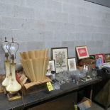 HOUSEHOLD GOODS-GLASSES, LAMPS, PICTURES ETC