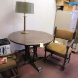 """40"""" WOOD TABLE & 4 UPHOLSTERED WOOD CHAIRS"""