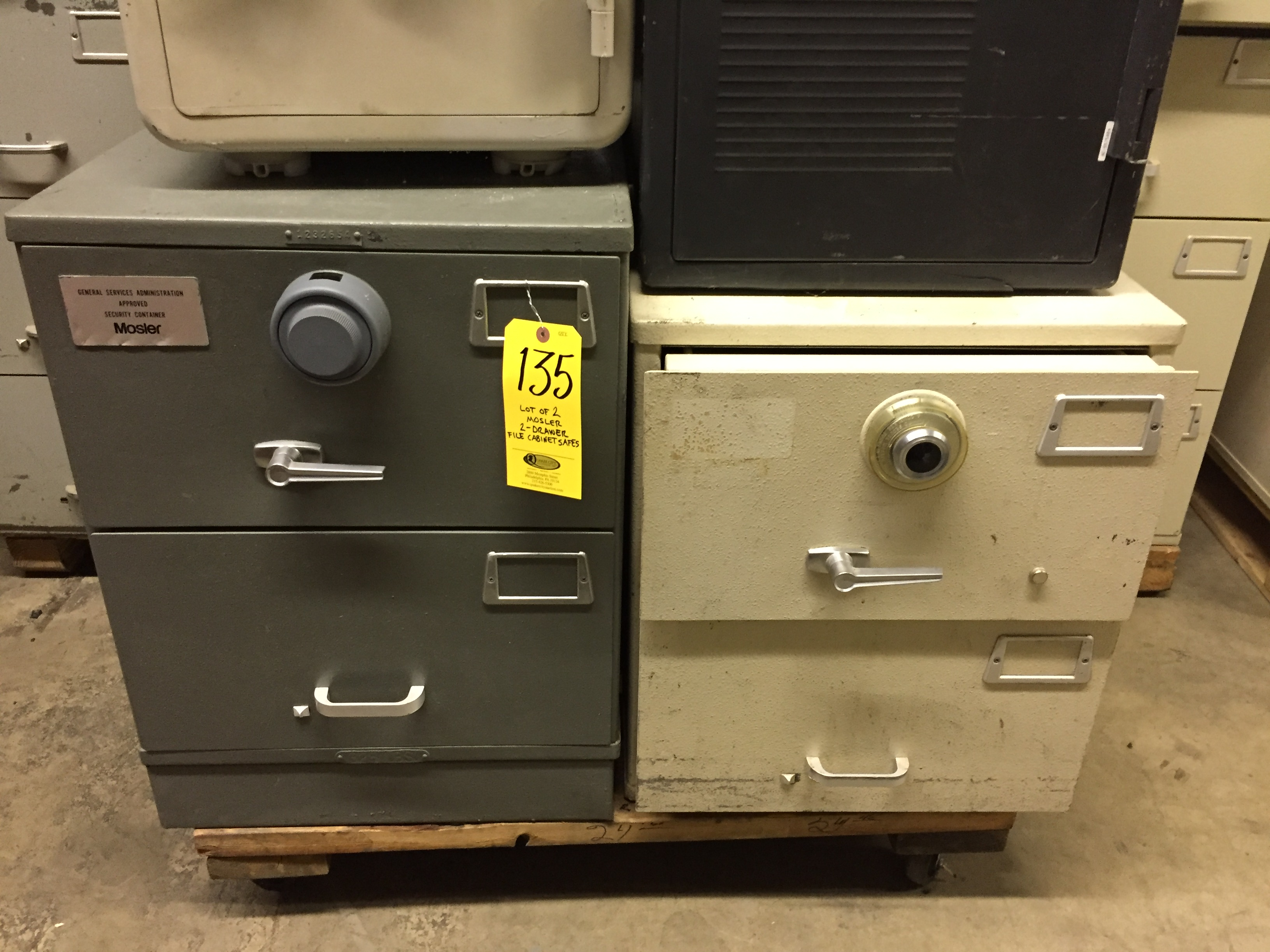 2 Mosler 2 Drawer File Cabinet Safes No Combinations