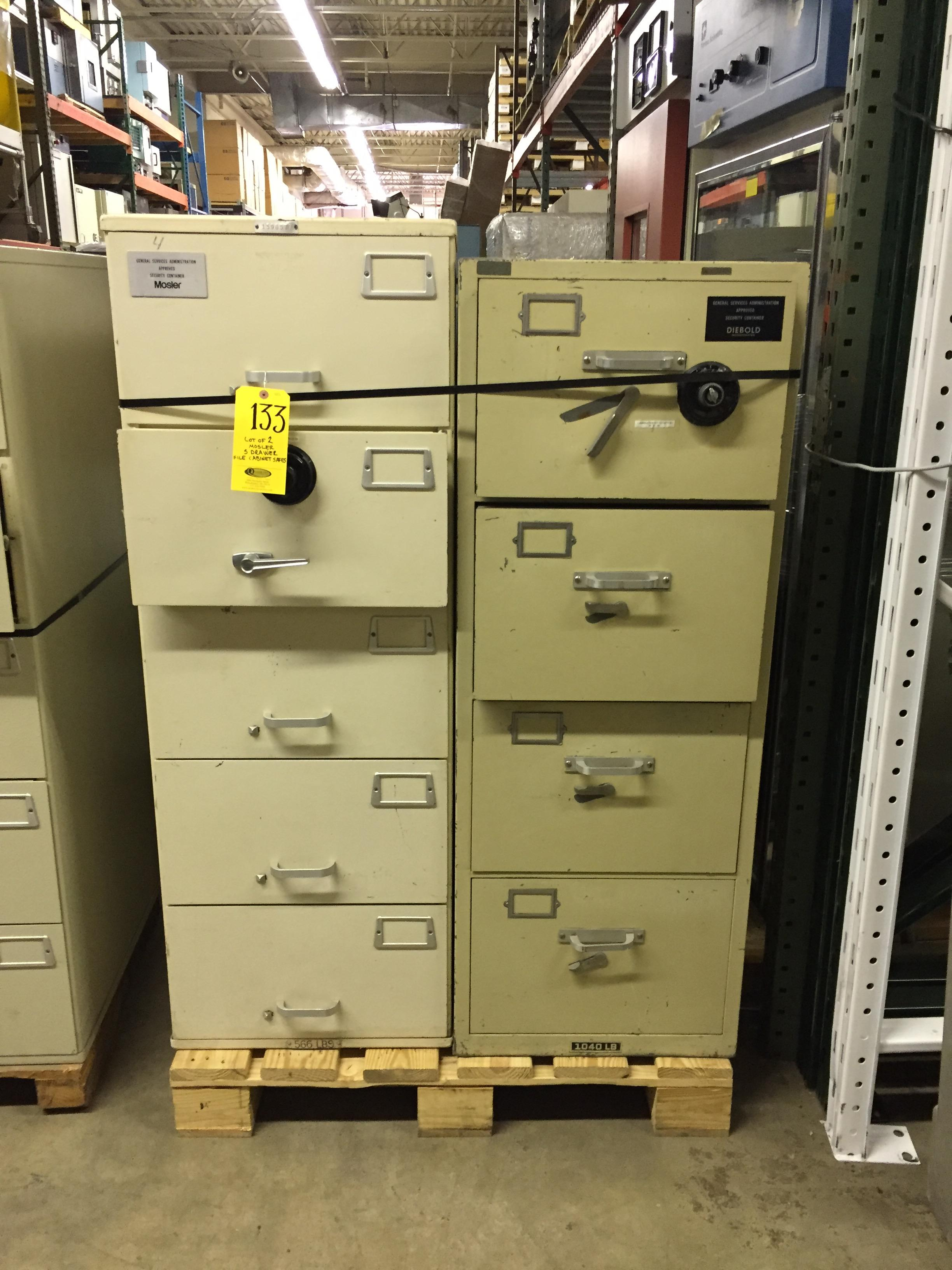2 Mosler 5 Drawer File Cabinet Safes No Combinations