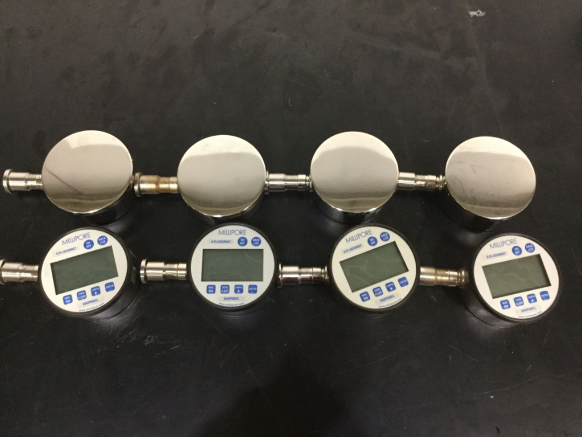 Lot 4 - Lot of (8) Millipore Sanitary Digital Pressure Gauges