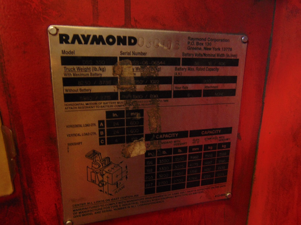 Lot 57 - 2006 Raymond mod. DSS350, 36 Volt Electric