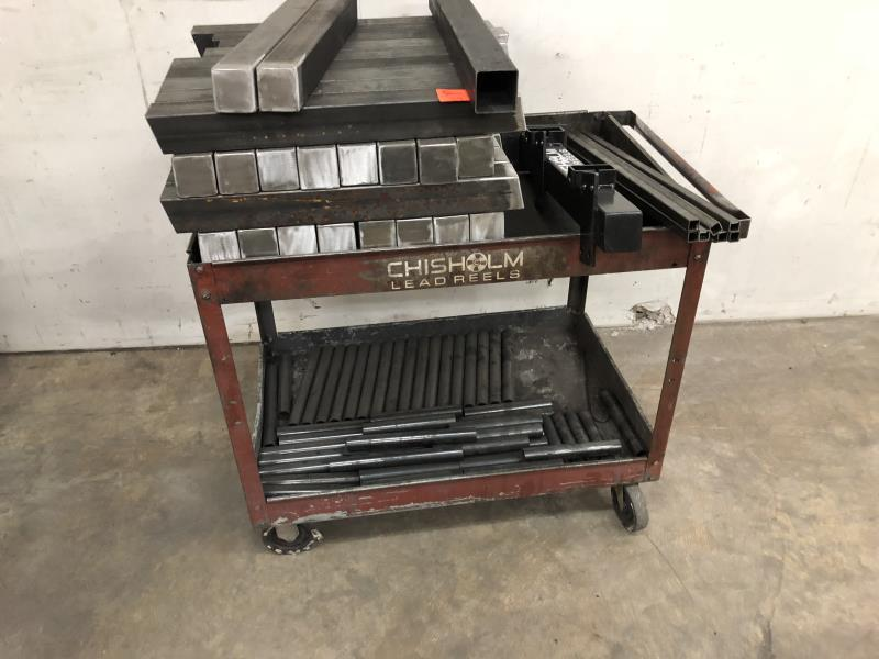Lot 39 - Two Shelf shop cartf with assorted steel