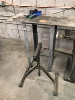 "Lot 25 - Steel table 40""x18"" & roller"