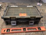 Lot 9 - Husky small parts tool box & level