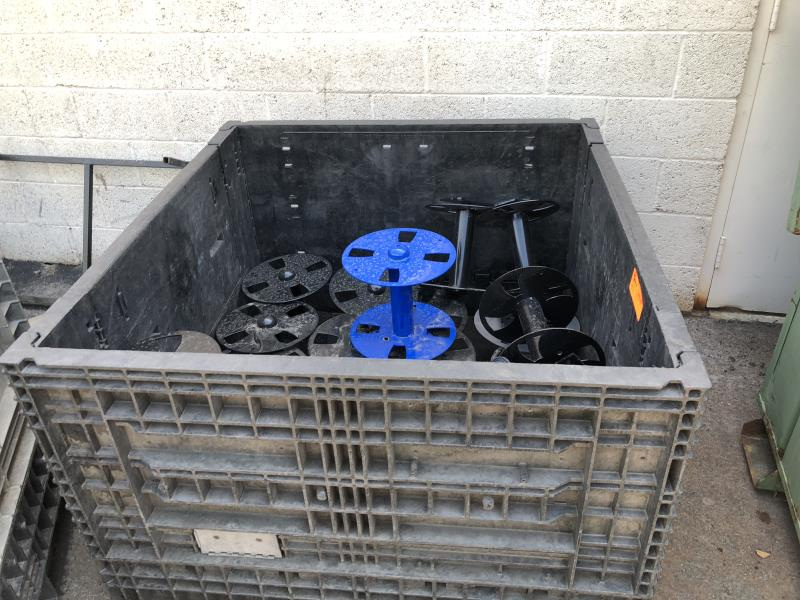 Lot 41 - Plastic tote with assoted reels