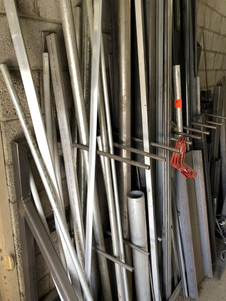 Lot 2 - Custom Stock rack with assorted metal pipes