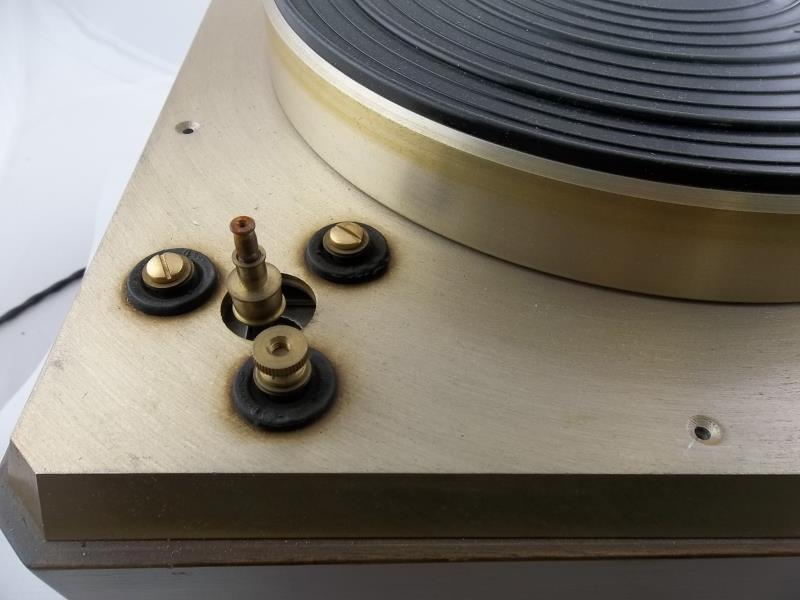 Lot 550 - Empire turntable with arm, brushed gold finish, missing corner plate cover, tone arm has piece